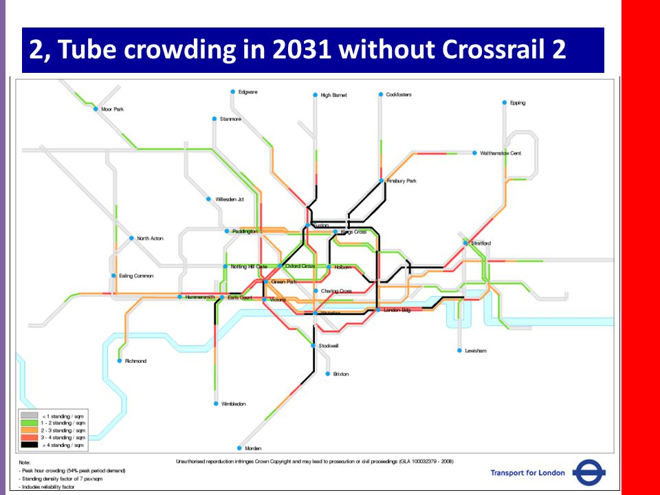 2, Tube crowding in 2031 without Crossrail 2