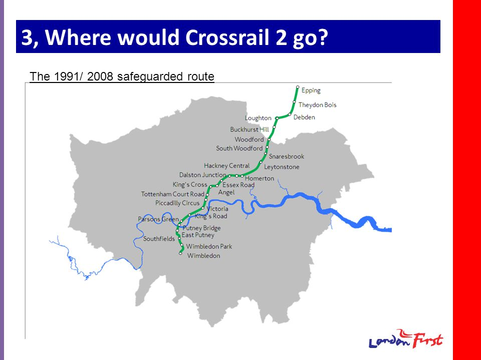 3, Where would Crossrail 2 go The 1991/ 2008 safeguarded route