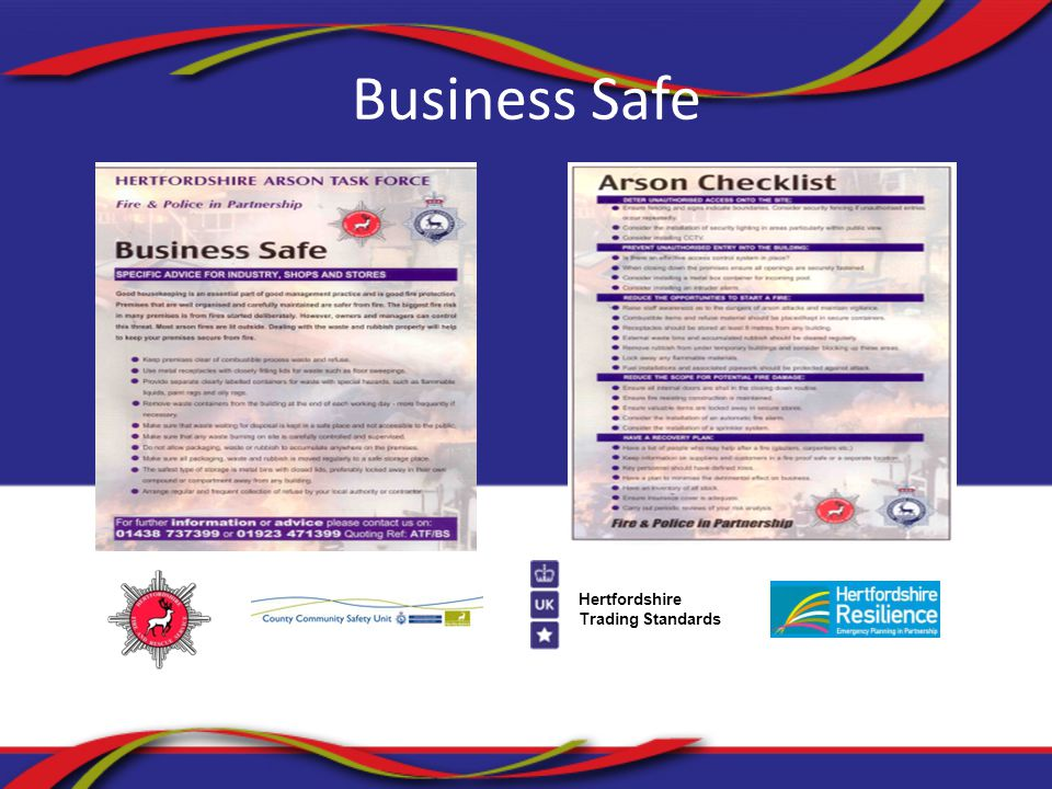 Hertfordshire Trading Standards Business Safe