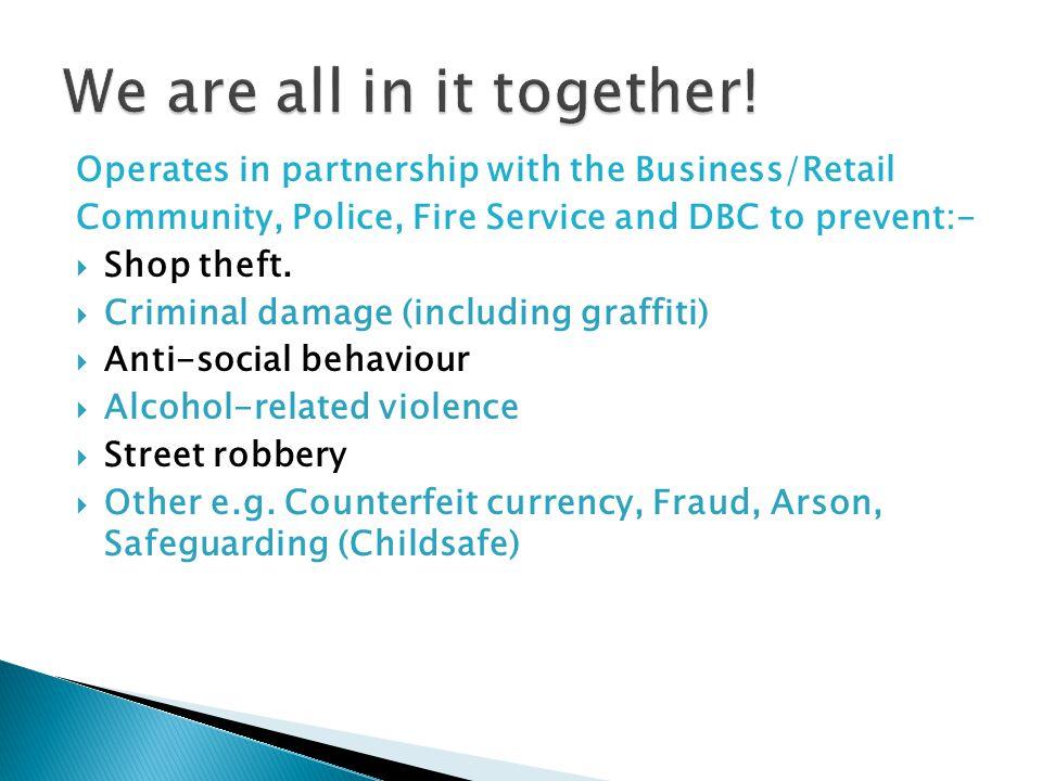 Tunbridge Wells Safe Town MEMBERS – crime detection rate: 69% MEMBERS – crime detection rate: 69% NON MEMBERS – crime detection rate: 36% NON MEMBERS – crime detection rate: 36% MEMBERS – property recovered: 69% MEMBERS – property recovered: 69% NON MEMBERS property recovered: 12% NON MEMBERS property recovered: 12% Police Attendance at incidents: Police Attendance at incidents: 58% (2008) 58% (2008) 68% (2009) – significant reduction in shoplifting 68% (2009) – significant reduction in shoplifting