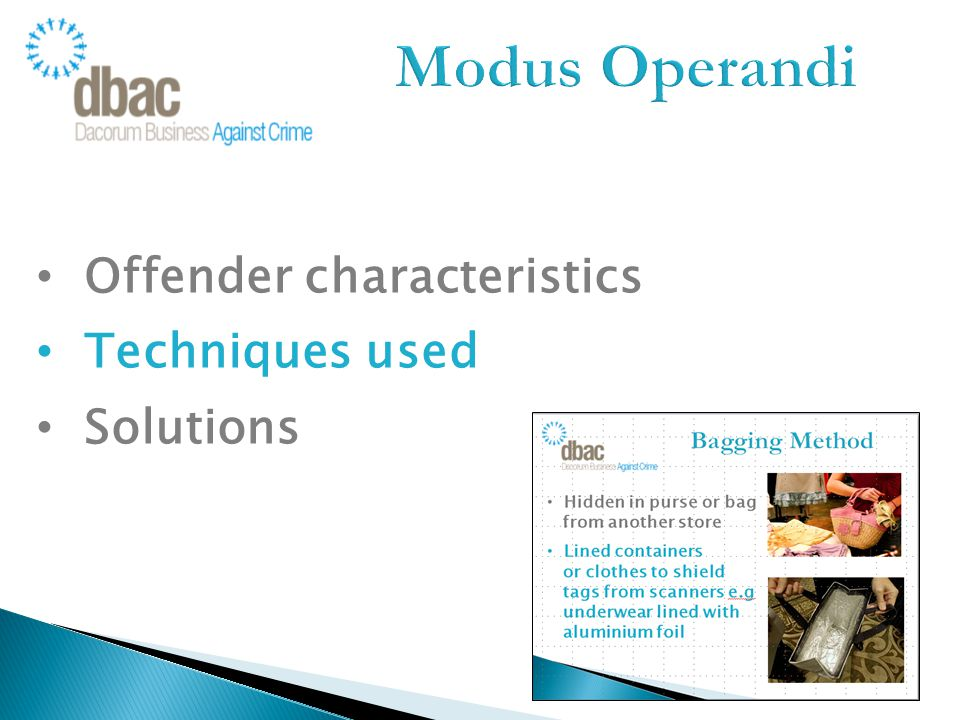 Offender characteristics Techniques used Solutions