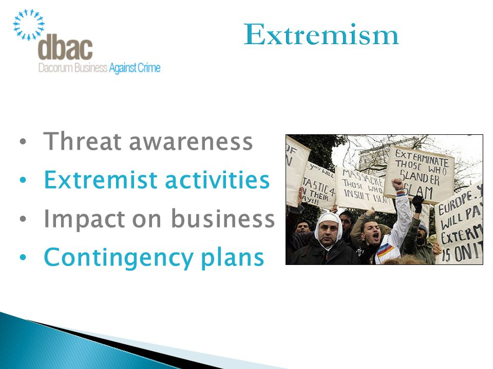 Threat awareness Extremist activities Impact on business Contingency plans