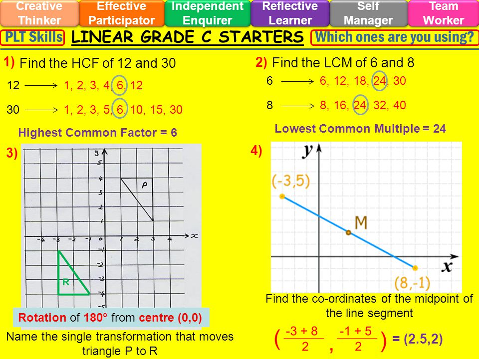 LINEAR GRADE C STARTERS Effective Participator Self Manager Independent Enquirer Creative Thinker Team Worker Reflective Learner Which ones are you using?PLT Skills 1) 2) 3) 4) Find the HCF of 12 and 30 Find the LCM of 6 and 8 12 1, 2, 3, 4, 6, 12 30 1, 2, 3, 5, 6, 10, 15, 30 Highest Common Factor = 6 6 6, 12, 18, 24, 30 8 8, 16, 24, 32, 40 Lowest Common Multiple = 24 Name the single transformation that moves triangle P to R Rotation of 180° from centre (0,0) Find the co-ordinates of the midpoint of the line segment = (2.5,2)