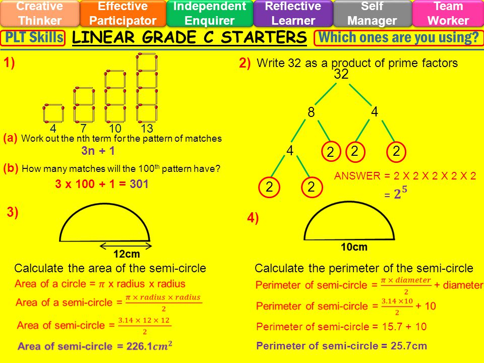 LINEAR GRADE C STARTERS Effective Participator Self Manager Independent Enquirer Creative Thinker Team Worker Reflective Learner Which ones are you using?PLT Skills 1) 2) 3) 4) (a) Work out the nth term for the pattern of matches (b) How many matches will the 100 th pattern have.