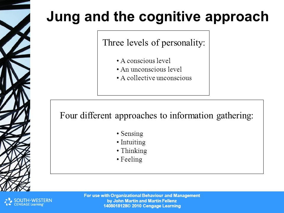 For use with Organizational Behaviour and Management by John Martin and Martin Fellenz 1408018128© 2010 Cengage Learning Jung and the cognitive approa