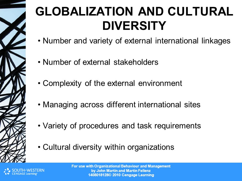 For use with Organizational Behaviour and Management by John Martin and Martin Fellenz 1408018128© 2010 Cengage Learning GLOBALIZATION AND CULTURAL DIVERSITY Number and variety of external international linkages Number of external stakeholders Complexity of the external environment Managing across different international sites Variety of procedures and task requirements Cultural diversity within organizations