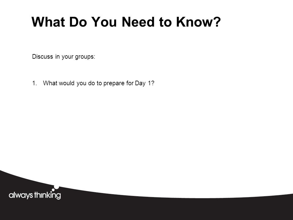 What Do You Need to Know Discuss in your groups: 1.What would you do to prepare for Day 1