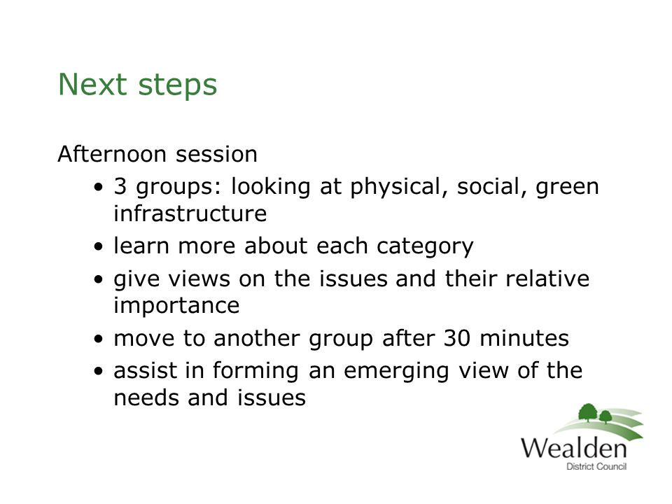Next steps Afternoon session 3 groups: looking at physical, social, green infrastructure learn more about each category give views on the issues and their relative importance move to another group after 30 minutes assist in forming an emerging view of the needs and issues