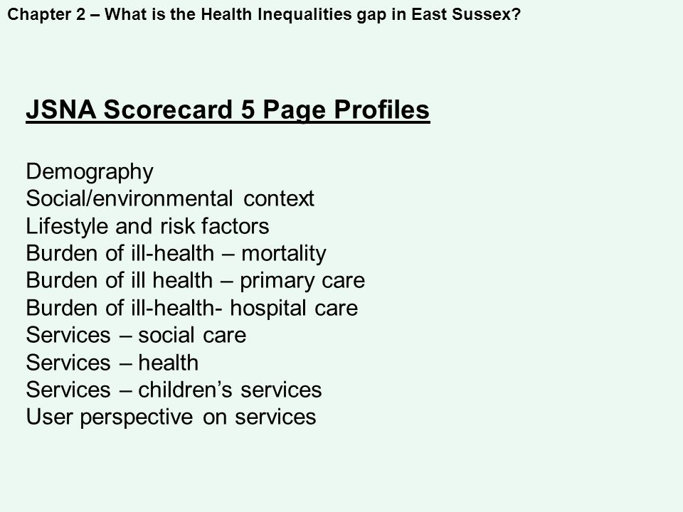 Chapter 2 – What is the Health Inequalities gap in East Sussex.