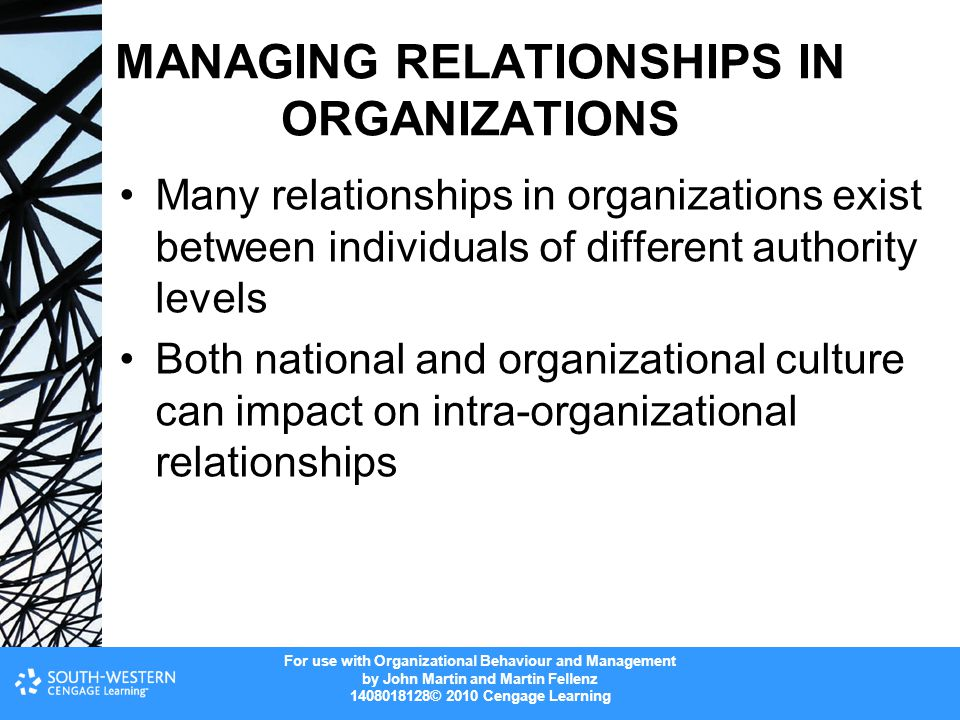 For use with Organizational Behaviour and Management by John Martin and Martin Fellenz 1408018128© 2010 Cengage Learning MANAGING RELATIONSHIPS IN ORGANIZATIONS Many relationships in organizations exist between individuals of different authority levels Both national and organizational culture can impact on intra-organizational relationships