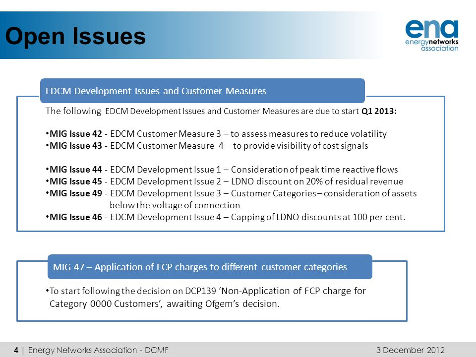 Open Issues 4 | Energy Networks Association - DCMF 3 December 2012 The following EDCM Development Issues and Customer Measures are due to start Q1 201