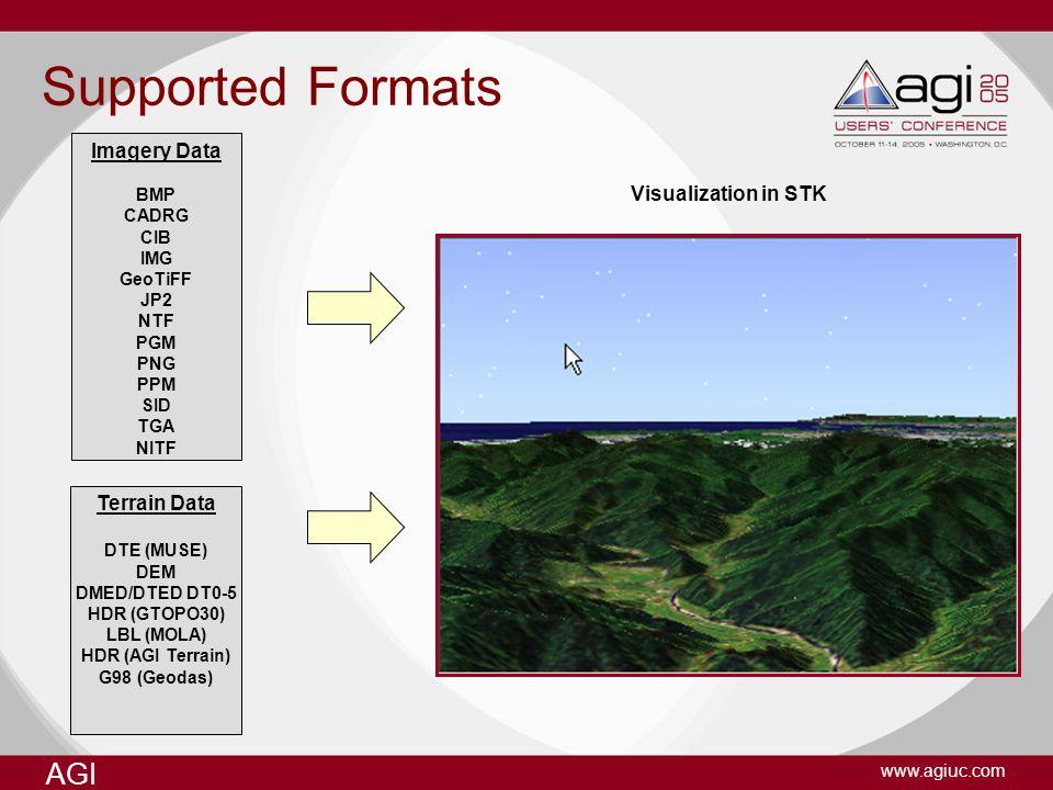 AGI www.agiuc.com AVO Optimization settings Application Level –Chunk Terrain Cache: Scenario Level –Chunk Image Cache: