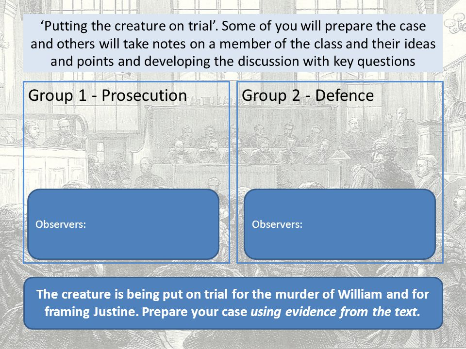 'Putting the creature on trial'. Some of you will prepare the case and others will take notes on a member of the class and their ideas and points and