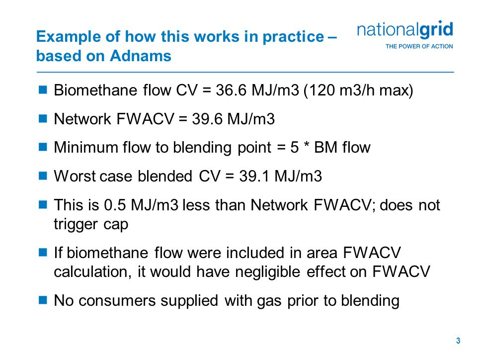 3 Example of how this works in practice – based on Adnams  Biomethane flow CV = 36.6 MJ/m3 (120 m3/h max)  Network FWACV = 39.6 MJ/m3  Minimum flow to blending point = 5 * BM flow  Worst case blended CV = 39.1 MJ/m3  This is 0.5 MJ/m3 less than Network FWACV; does not trigger cap  If biomethane flow were included in area FWACV calculation, it would have negligible effect on FWACV  No consumers supplied with gas prior to blending
