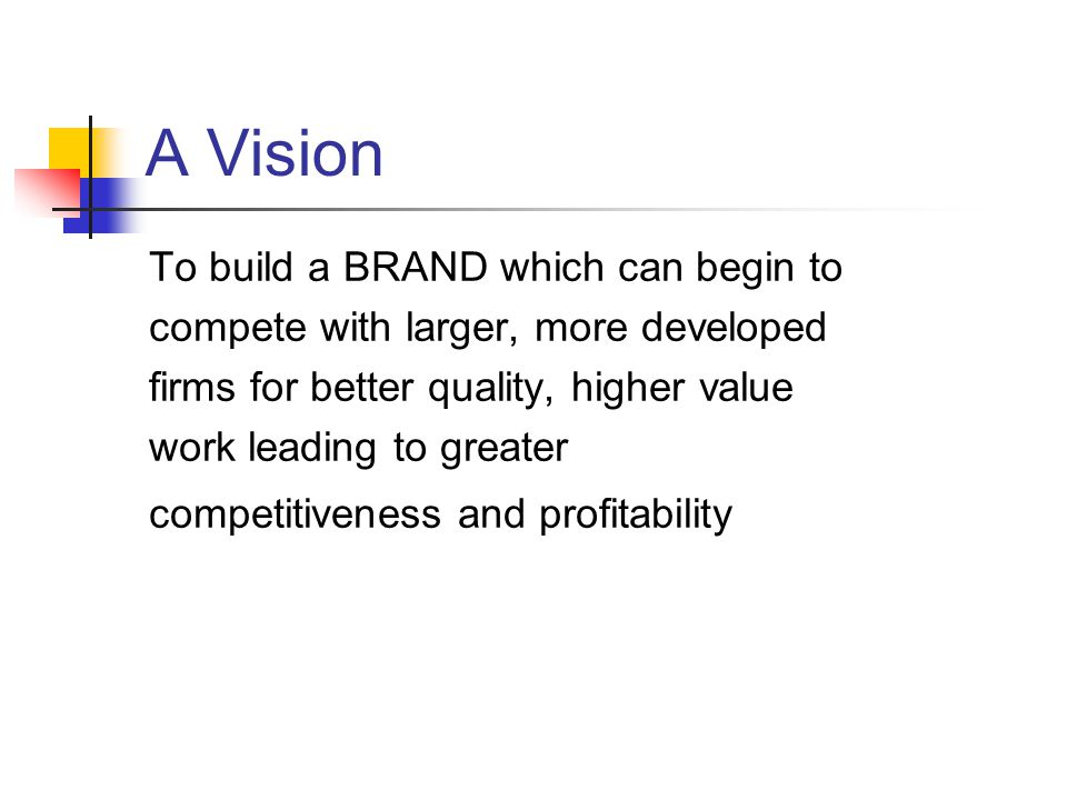 A Vision To build a BRAND which can begin to compete with larger, more developed firms for better quality, higher value work leading to greater competitiveness and profitability