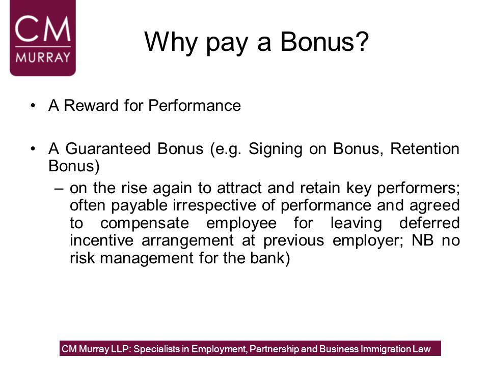 Why pay a Bonus? A Reward for Performance A Guaranteed Bonus (e.g. Signing on Bonus, Retention Bonus) –on the rise again to attract and retain key per