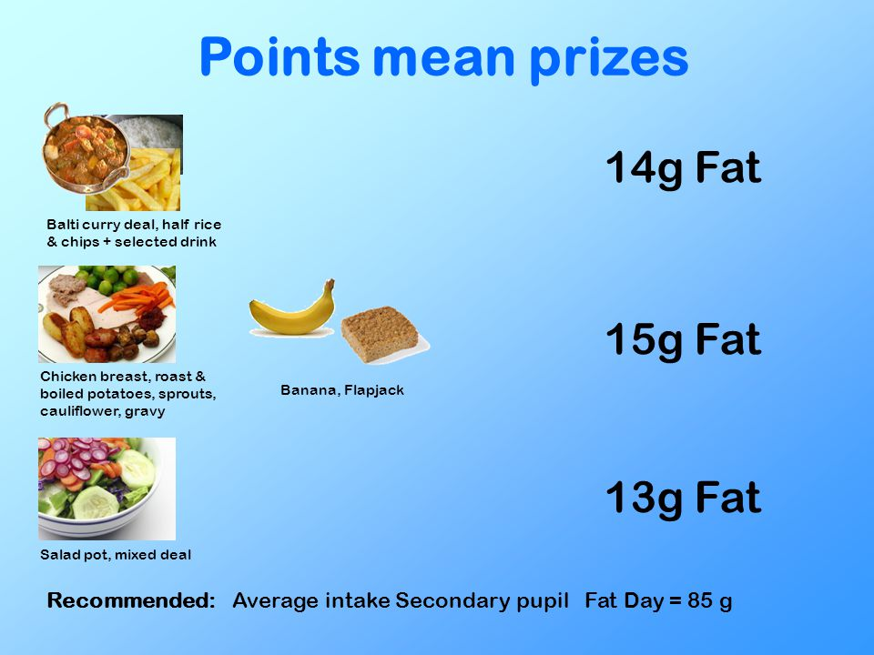 Points mean prizes Balti curry deal, half rice & chips + selected drink 14g Fat Chicken breast, roast & boiled potatoes, sprouts, cauliflower, gravy B