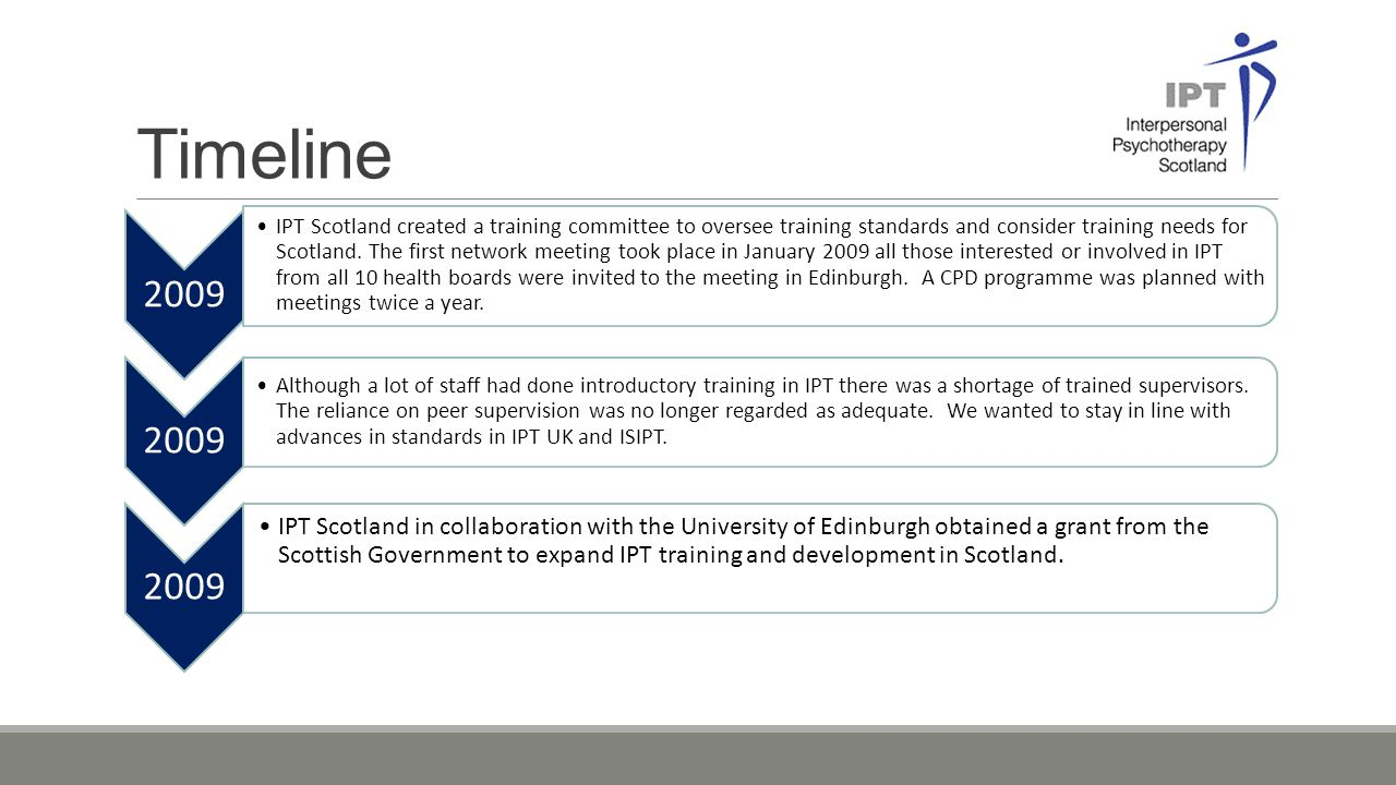 Timeline 2009 IPT Scotland created a training committee to oversee training standards and consider training needs for Scotland. The first network meet