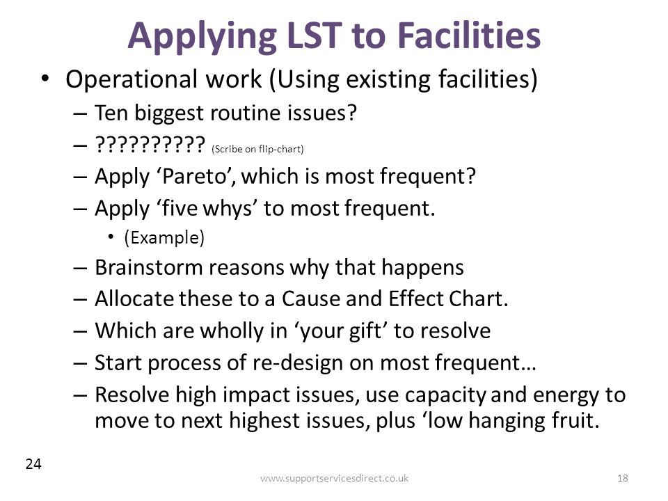 Applying LST to Facilities Operational work (Using existing facilities) – Ten biggest routine issues.