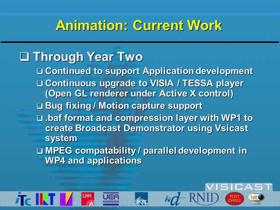 Animation: Current Work  Through Year Two  Continued to support Application development  Continuous upgrade to VISIA / TESSA player (Open GL renderer under Active X control)  Bug fixing / Motion capture support .baf format and compression layer with WP1 to create Broadcast Demonstrator using Vsicast system  MPEG compatability / parallel development in WP4 and applications