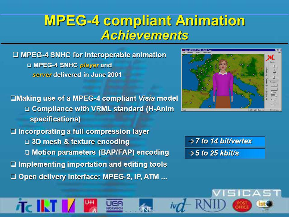  MPEG-4 SNHC for interoperable animation  MPEG-4 SNHC player and server delivered in June 2001 server delivered in June 2001 MPEG-4 compliant Animation Achievements à 5 to 25 kbit/s à 7 to 14 bit/vertex  Making use of a MPEG-4 compliant Visia model  Compliance with VRML standard (H-Anim specifications) specifications)  Incorporating a full compression layer  3D mesh & texture encoding  Motion parameters (BAP/FAP) encoding  Implementing importation and editing tools  Open delivery interface: MPEG-2, IP, ATM...