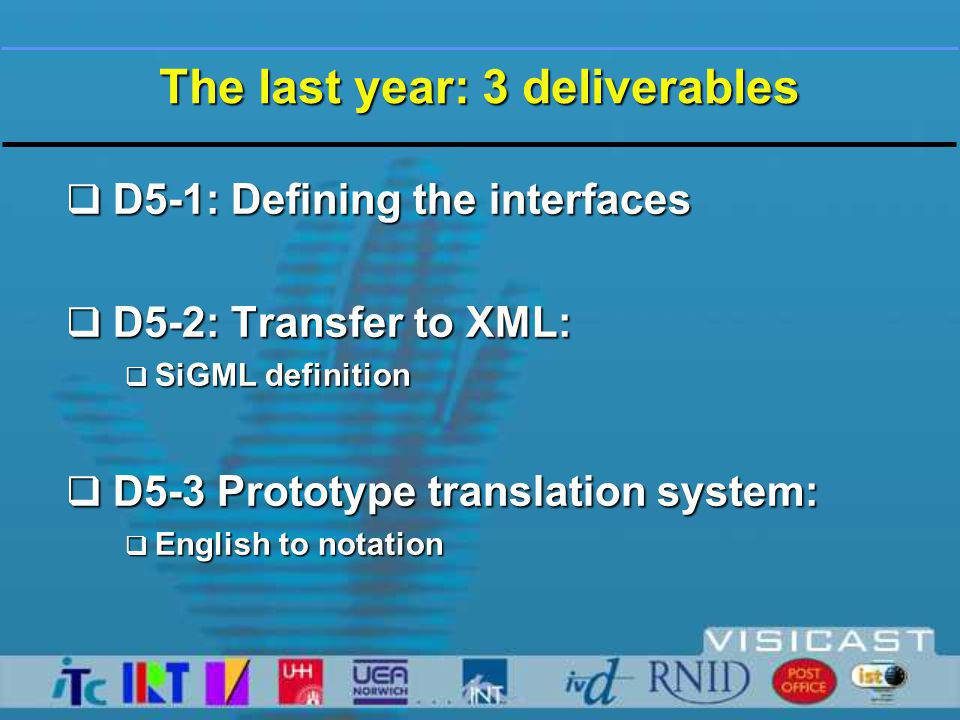 The last year: 3 deliverables  D5-1: Defining the interfaces  D5-2: Transfer to XML:  SiGML definition  D5-3 Prototype translation system:  English to notation