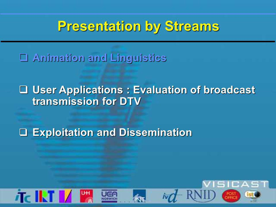 Presentation by Streams  Animation and Linguistics  User Applications : Evaluation of broadcast transmission for DTV  Exploitation and Dissemination