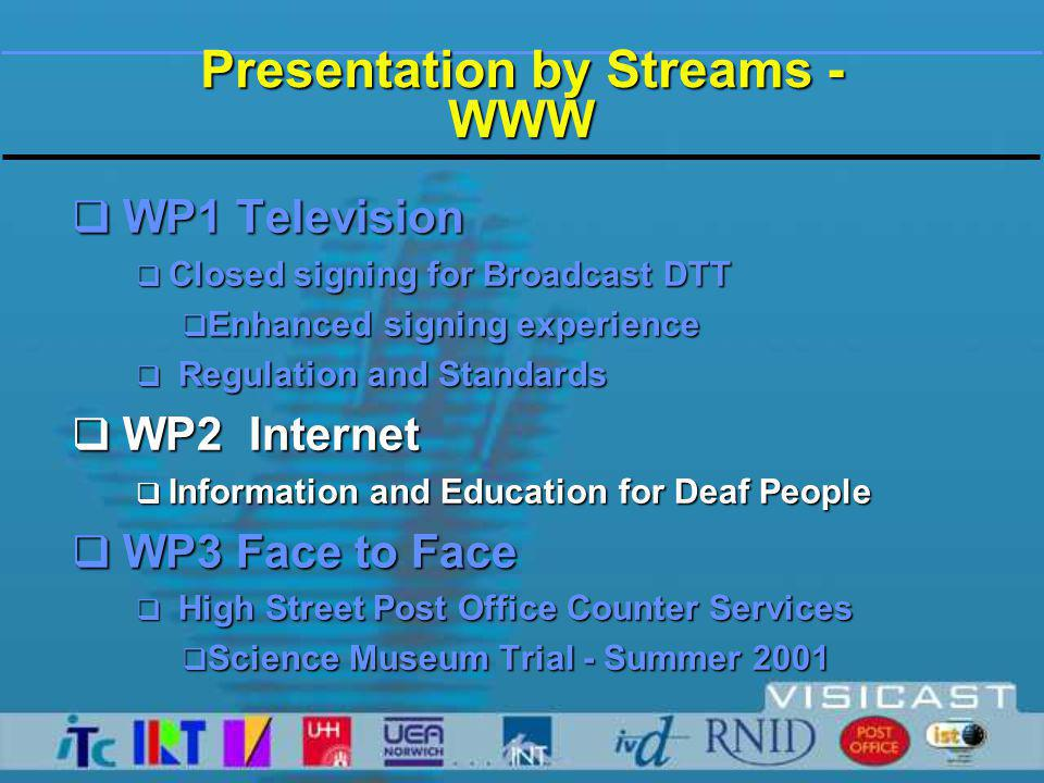 Presentation by Streams - WWW  WP1 Television  Closed signing for Broadcast DTT  Enhanced signing experience  Regulation and Standards  WP2 Internet  Information and Education for Deaf People  WP3 Face to Face  High Street Post Office Counter Services  Science Museum Trial - Summer 2001