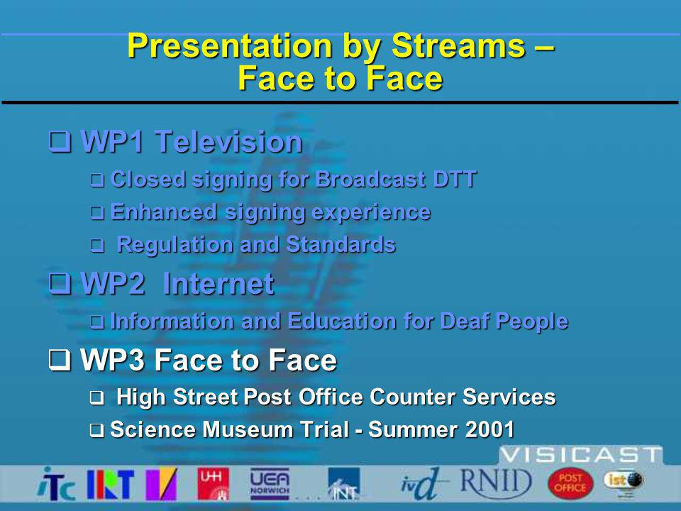 Presentation by Streams – Face to Face  WP1 Television  Closed signing for Broadcast DTT  Enhanced signing experience  Regulation and Standards  WP2 Internet  Information and Education for Deaf People  WP3 Face to Face  High Street Post Office Counter Services  Science Museum Trial - Summer 2001