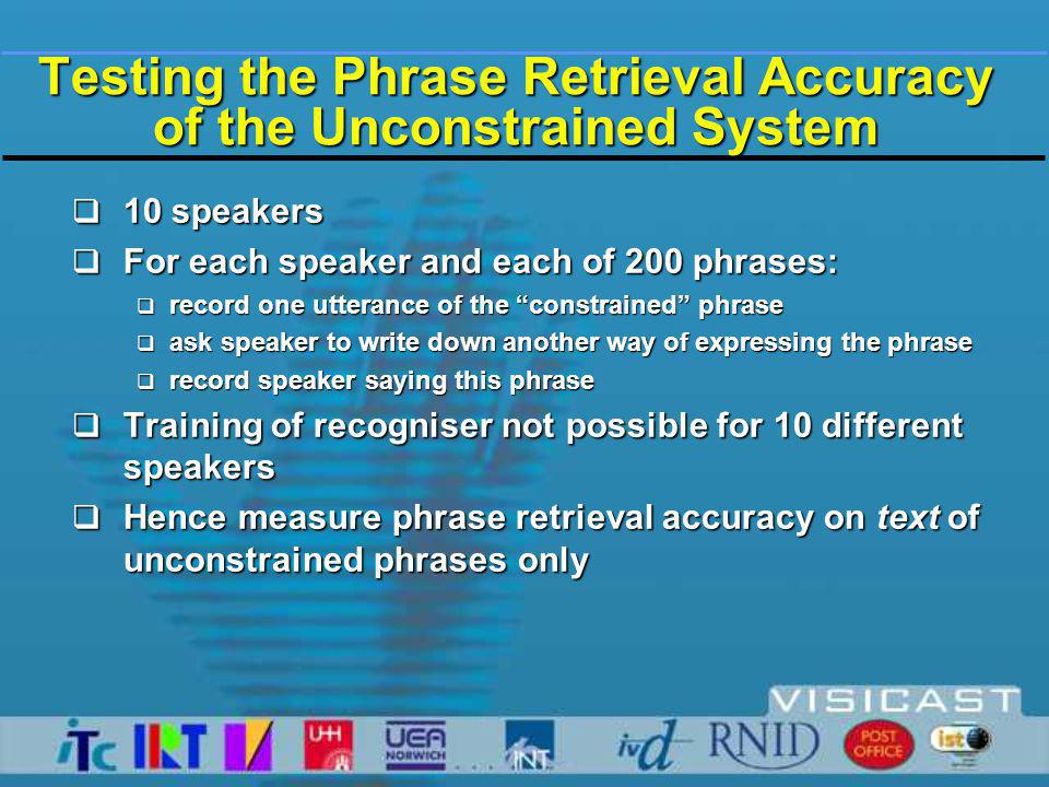 Testing the Phrase Retrieval Accuracy of the Unconstrained System  10 speakers  For each speaker and each of 200 phrases:  record one utterance of the constrained phrase  ask speaker to write down another way of expressing the phrase  record speaker saying this phrase  Training of recogniser not possible for 10 different speakers  Hence measure phrase retrieval accuracy on text of unconstrained phrases only