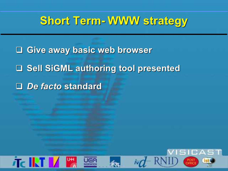 Short Term- WWW strategy  Give away basic web browser  Sell SiGML authoring tool presented  De facto standard