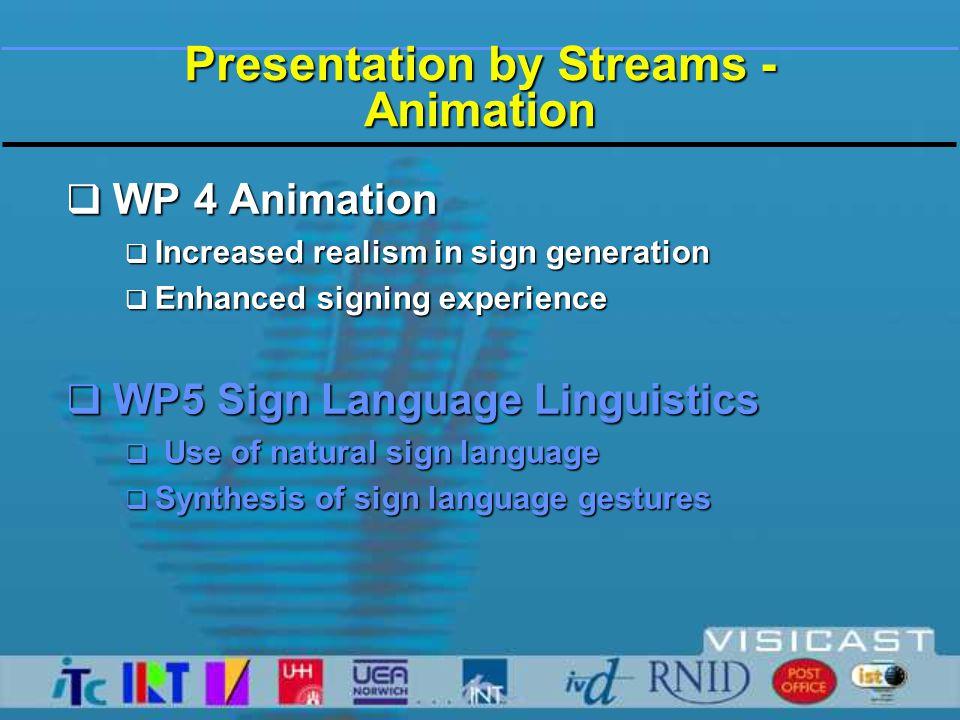 Presentation by Streams - Animation  WP 4 Animation  Increased realism in sign generation  Enhanced signing experience  WP5 Sign Language Linguistics  Use of natural sign language  Synthesis of sign language gestures