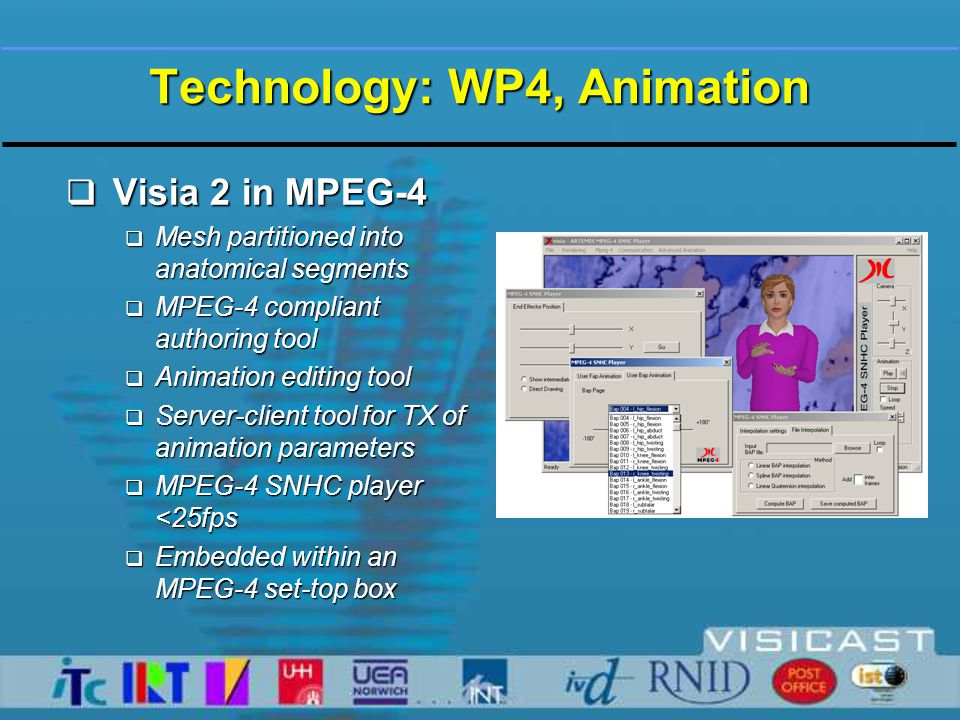 Technology: WP4, Animation  Visia 2 in MPEG-4  Mesh partitioned into anatomical segments  MPEG-4 compliant authoring tool  Animation editing tool  Server-client tool for TX of animation parameters  MPEG-4 SNHC player <25fps  Embedded within an MPEG-4 set-top box