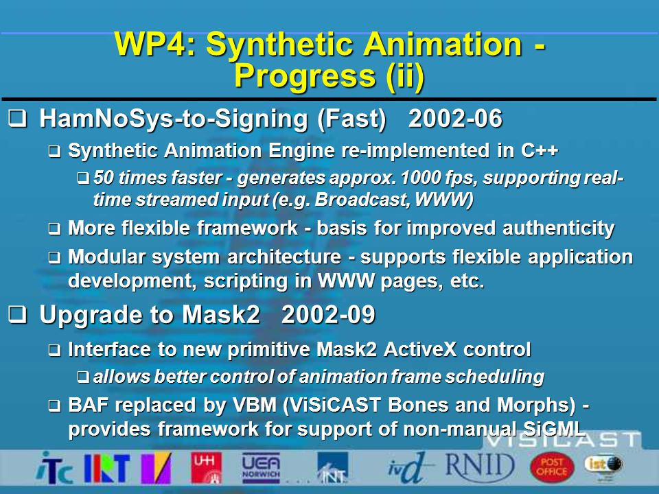 WP4: Synthetic Animation - Progress (ii)  HamNoSys-to-Signing (Fast) 2002-06  Synthetic Animation Engine re-implemented in C++  50 times faster - generates approx.