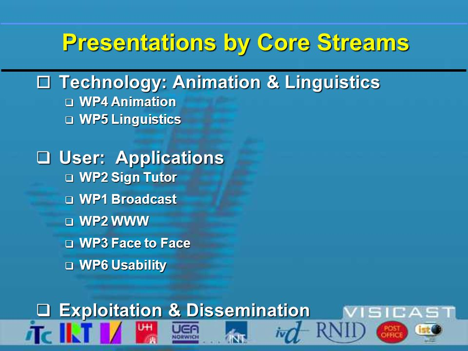 Presentations by Core Streams o Technology: Animation & Linguistics  WP4 Animation  WP5 Linguistics  User: Applications  WP2 Sign Tutor  WP1 Broadcast  WP2 WWW  WP3 Face to Face  WP6 Usability  Exploitation & Dissemination