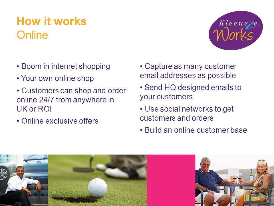 How it works Online Boom in internet shopping Your own online shop Customers can shop and order online 24/7 from anywhere in UK or ROI Online exclusive offers Capture as many customer email addresses as possible Send HQ designed emails to your customers Use social networks to get customers and orders Build an online customer base