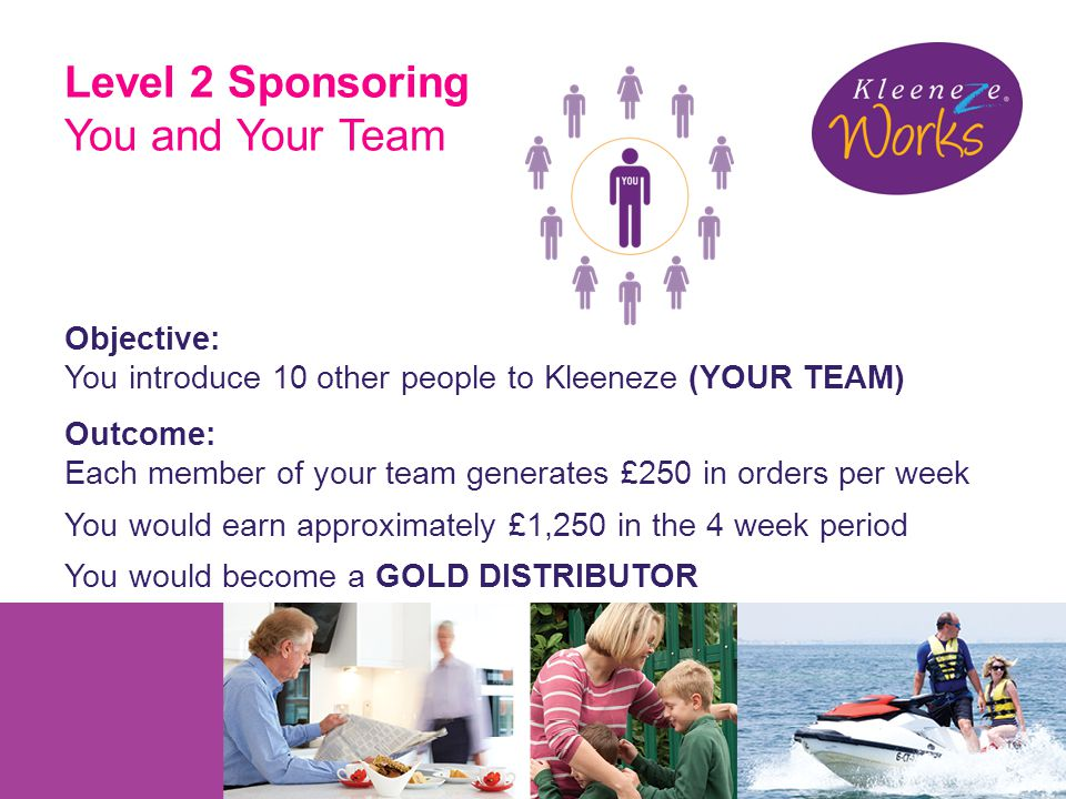 Level 2 Sponsoring You and Your Team Objective: You introduce 10 other people to Kleeneze (YOUR TEAM) Outcome: Each member of your team generates £250 in orders per week You would earn approximately £1,250 in the 4 week period You would become a GOLD DISTRIBUTOR