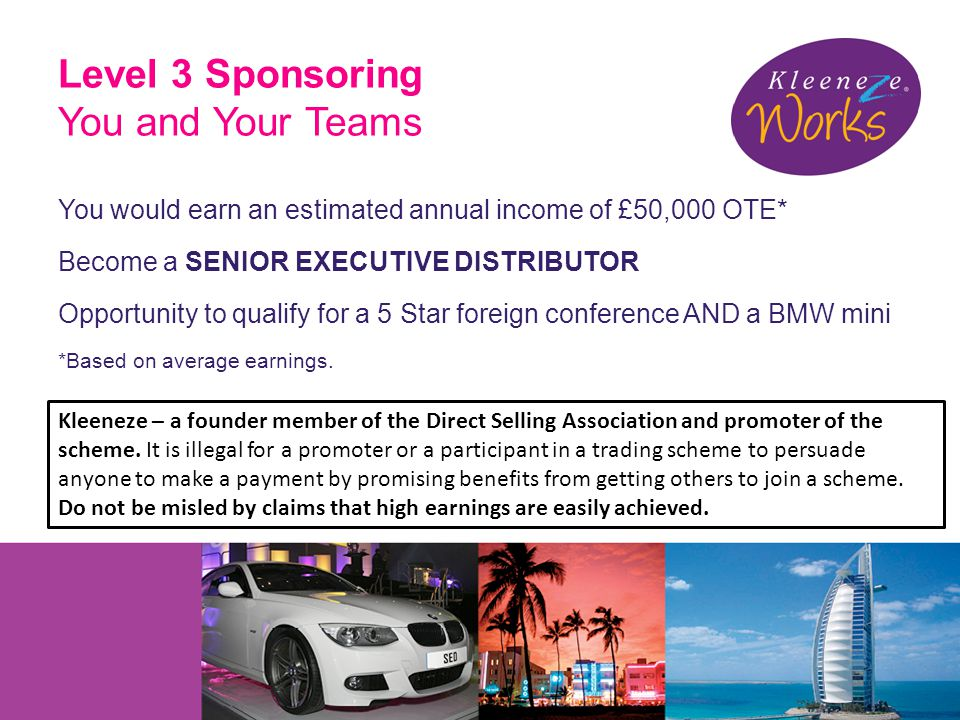 Level 3 Sponsoring You and Your Teams You would earn an estimated annual income of £50,000 OTE* Become a SENIOR EXECUTIVE DISTRIBUTOR Opportunity to qualify for a 5 Star foreign conference AND a BMW mini *Based on average earnings.