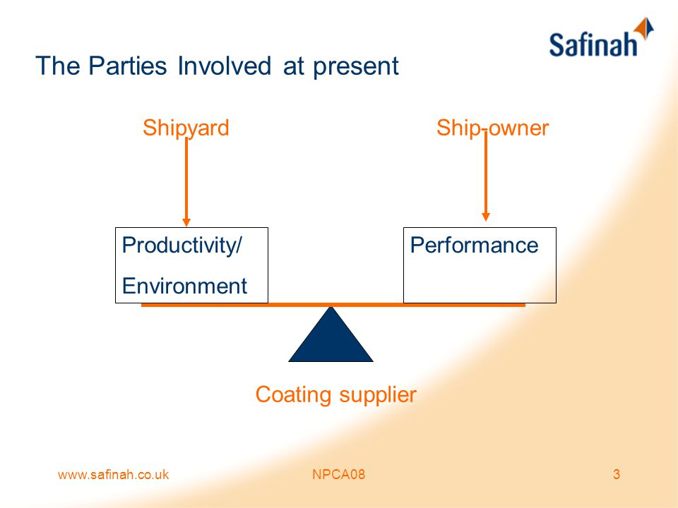 www.safinah.co.ukNPCA084 The Parties Involved A paint specification is in many ways a compromise: –It has to meet with the yards building procedures, environmental and productivity requirements –The shipyard is the customer of the coating manufacturers and they have to be competitive on standards as well as price –It has to match the paint suppliers product range.