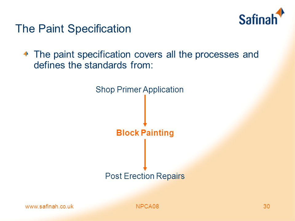 www.safinah.co.ukNPCA0830 The Paint Specification The paint specification covers all the processes and defines the standards from: Shop Primer Applica