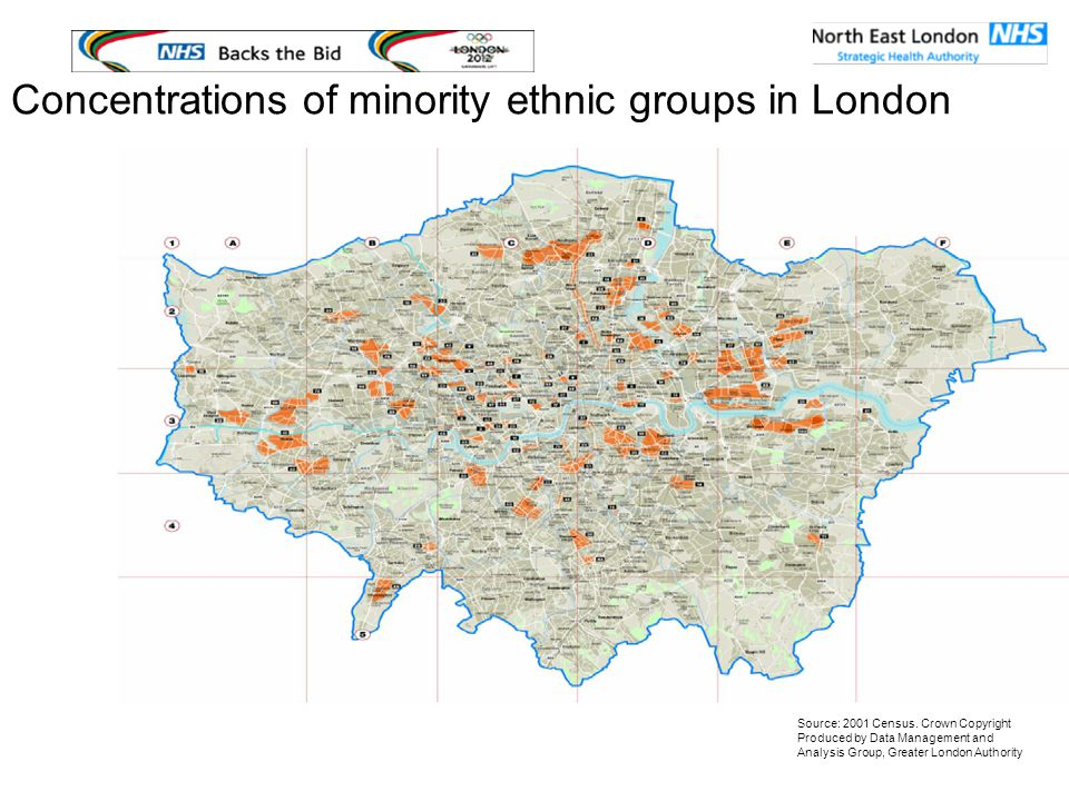 Concentrations of minority ethnic groups in London Source: 2001 Census.