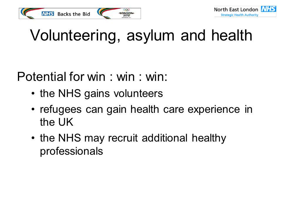 Volunteering, asylum and health ROSE website provides information about volunteering for refugee health professionals www.rose.nhs.uk
