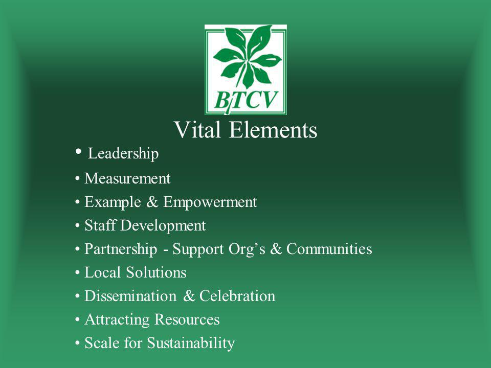 Vital Elements Leadership Measurement Example & Empowerment Staff Development Partnership - Support Org's & Communities Local Solutions Dissemination & Celebration Attracting Resources Scale for Sustainability