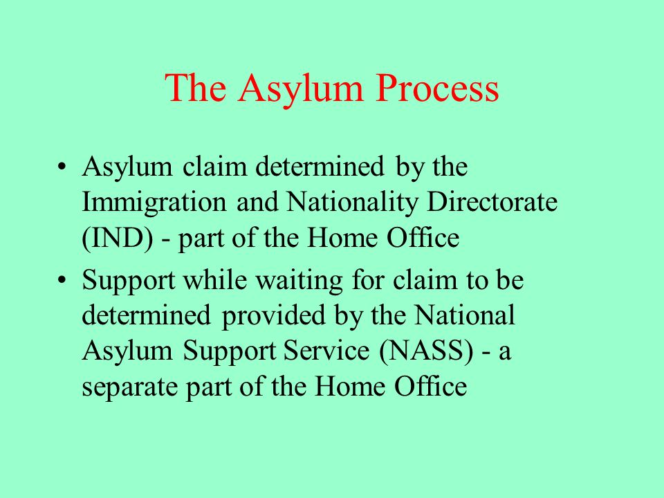 The Asylum Process Asylum claim determined by the Immigration and Nationality Directorate (IND) - part of the Home Office Support while waiting for claim to be determined provided by the National Asylum Support Service (NASS) - a separate part of the Home Office