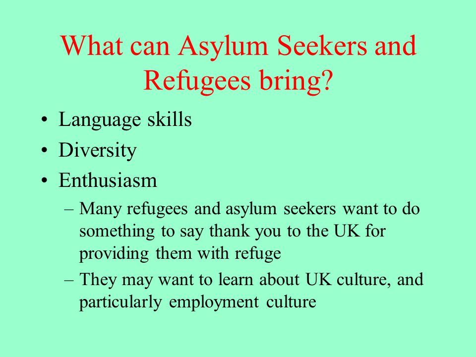 What can Asylum Seekers and Refugees bring.