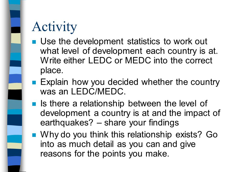 Activity n Use the development statistics to work out what level of development each country is at. Write either LEDC or MEDC into the correct place.