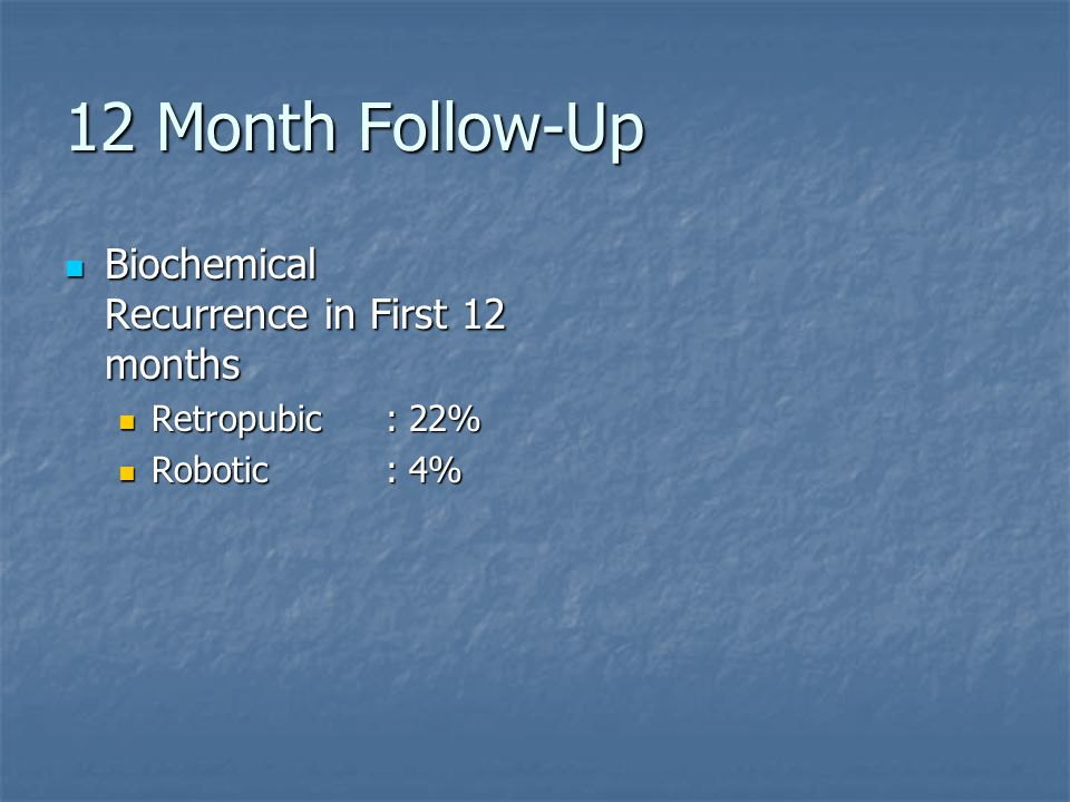 12 Month Follow-Up Biochemical Recurrence in First 12 months Biochemical Recurrence in First 12 months Retropubic: 22% Retropubic: 22% Robotic: 4% Robotic: 4%