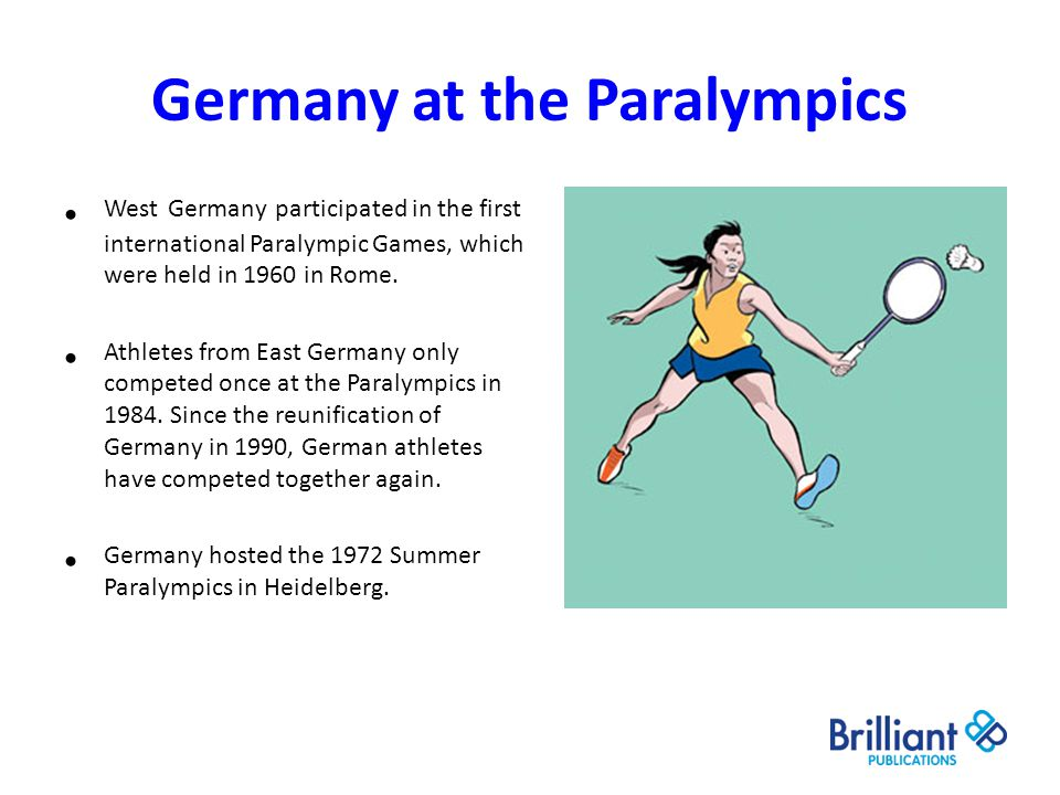 Germany at the Paralympics West Germany participated in the first international Paralympic Games, which were held in 1960 in Rome. Athletes from East