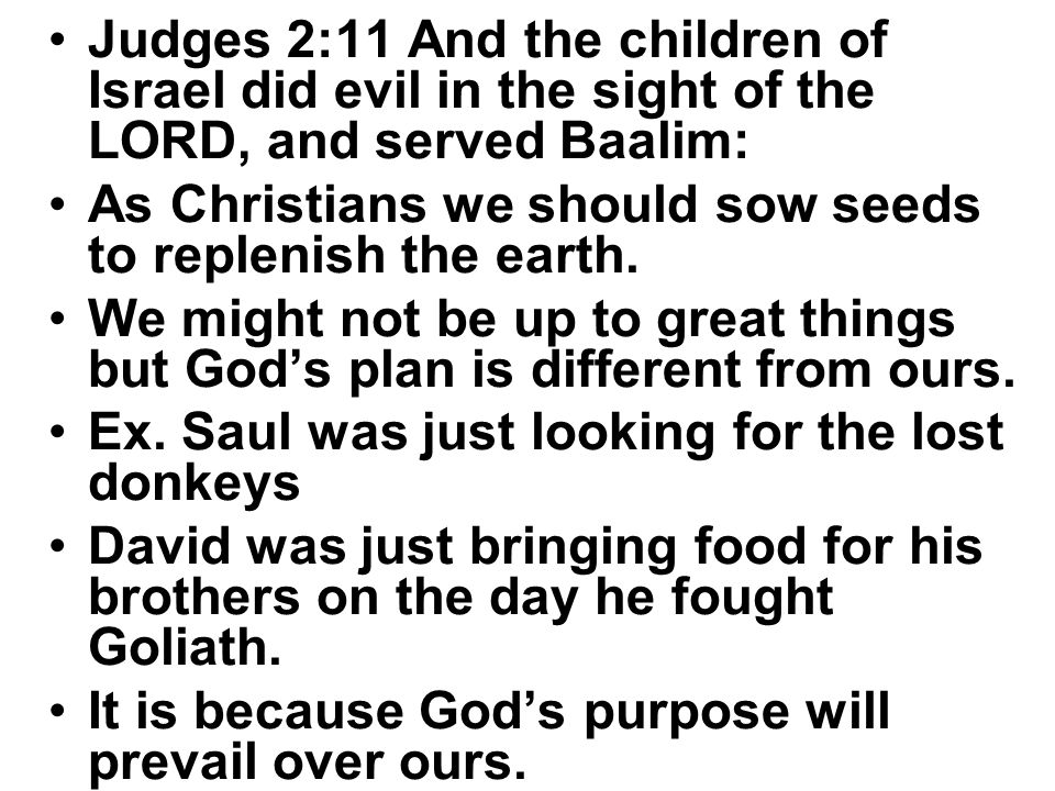 Judges 2:11 And the children of Israel did evil in the sight of the LORD, and served Baalim: As Christians we should sow seeds to replenish the earth.