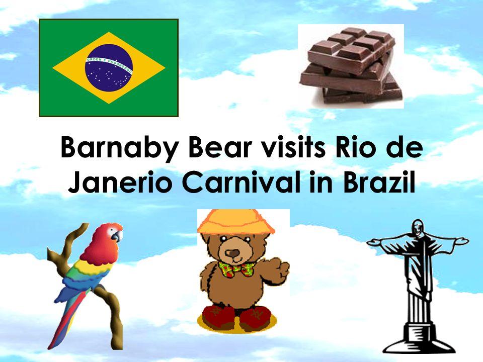 Barnaby Bear visits Rio de Janerio Carnival in Brazil